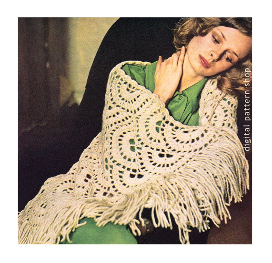 Crochet Shawl Pattern Vintage Scalloped Shawl Wrap Crochet Etsy