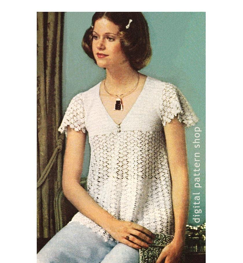 C39 Crochet Top Pattern 1970s Vintage Ruffle Off Shoulder Top Crochet Pattern Bardot Top PDF Instant Download Womens Size 8 to 16