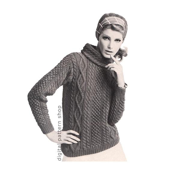 Knit Aran Sweater Pattern Womens Pullover Sweater Knitting Etsy