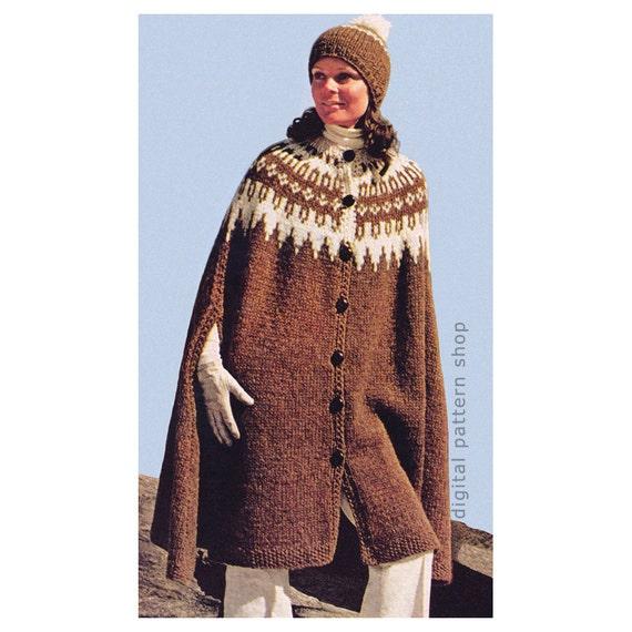 Cape Knitting Pattern Vintage Icelandic Cape & Cap Pattern | Etsy