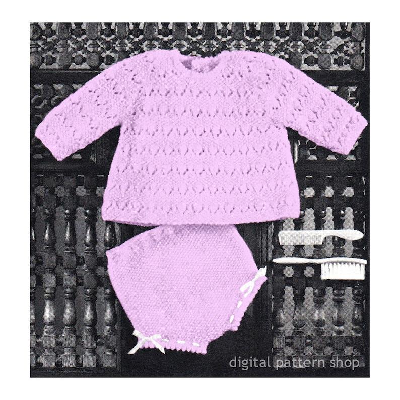 558cb947eebd Baby Girls Knitting Pattern Top and Knickers Infant Raglan