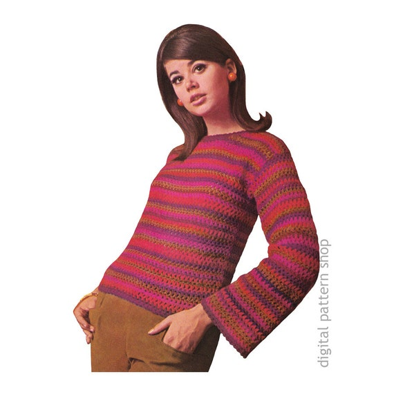 Crochet Sweater Pattern Vintage Easy Striped Pullover Sweater Etsy