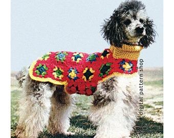 Crochet Dog Sweater Pattern- Granny Square Dog Coat Crochet Pattern Dog Turtleneck DIY Instant Download C76
