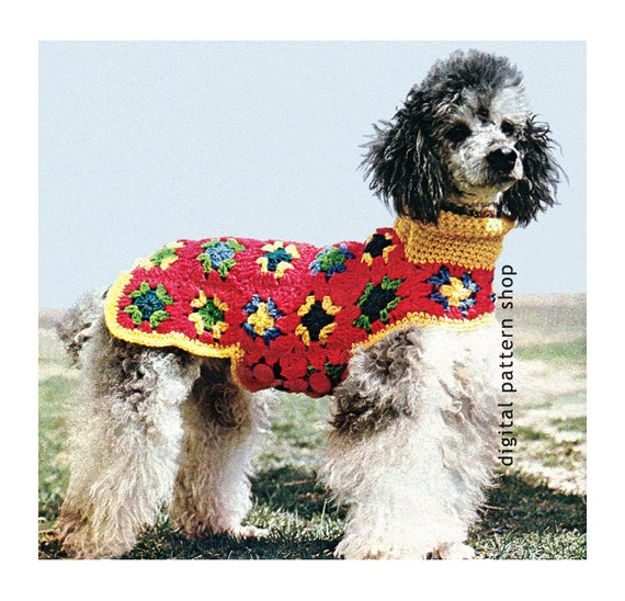 Crochet Dog Sweater Pattern Granny Square Dog Coat Crochet Etsy