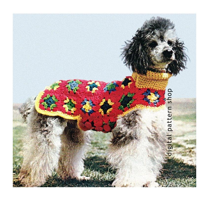 Crochet Dog Sweater Pattern Granny Square Dog Coat Crochet Etsy