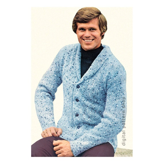 Mens Knitting Pattern Cardigan Sweater Pattern Shawl Collar Etsy