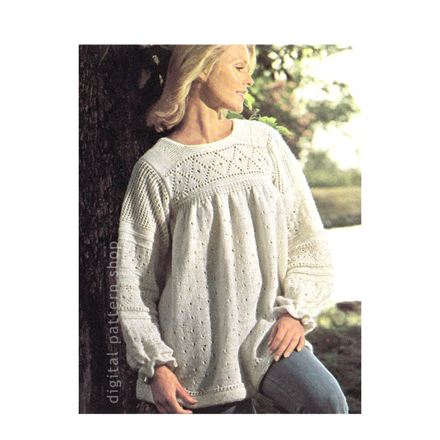 Boho Tunic Top Knitting Pattern Knit Pullover Smock Sweater Etsy