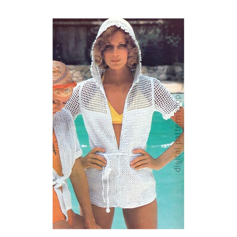 9b0b28bd3e Filet Crochet Mesh Top Pattern Hooded Beach Cover Up Crochet | Etsy