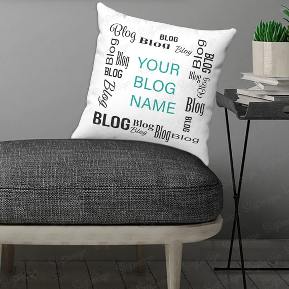 Blog Name Square Pillow Personalized Blogging Mom and Dad