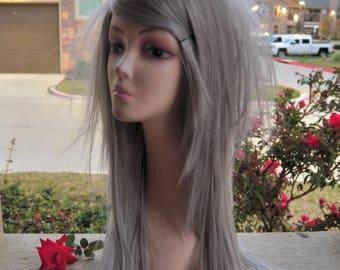Scene Straight Layered Wig in Platinum Gray
