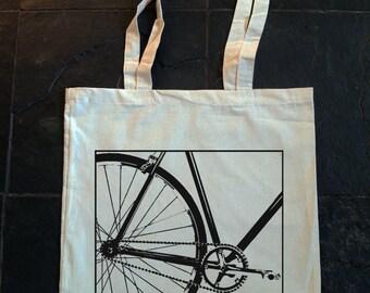 bicicletta a velocità singola, attrezzi fissi, bicycle - borsa in cotone stampato a mano