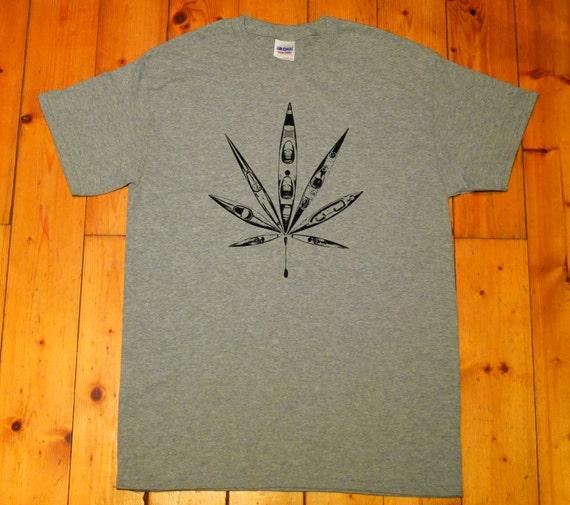 marihuana Kayak SCREEN PRINTED T-SHIRT cannabis symbol canoeing Kayaking