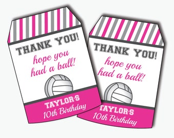 Volleyball Tag - Volleyball Party Favor Tags - Volleyball Birthday - Volleyball Party - Thank You Tags - Favor Tags (Instant Download)