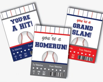 Baseball Valentines Cards for Kids, Baseball Valentines Day Card, Baseball Valentine Printable, Valentine Card for School (Instant Download)