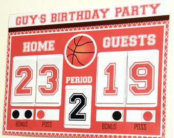 Basketball Scoreboard - Basketball Party - Basketball Birthday Decorations - Boy Birthday Prinatble - Basketball Download (Instant Download)