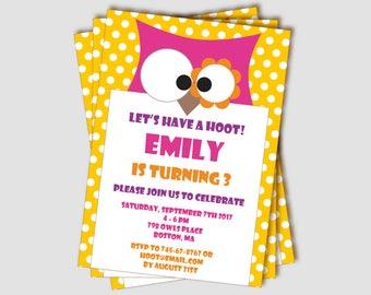 owl invitation etsy
