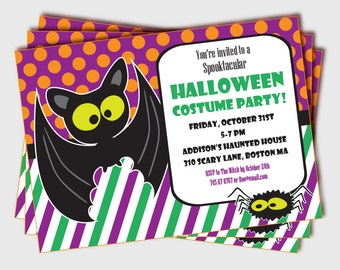 kids halloween party invitation halloween party invitations etsy