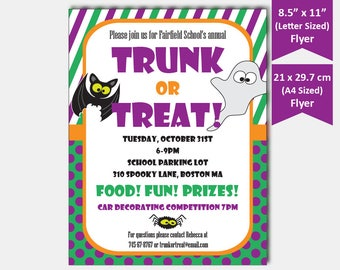 trunk or treat flyer halloween party flyer template etsy