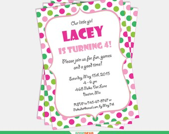 Green invitation etsy pink and green invitation confetti invitation polka dot invitation polka dot party confetti birthday editable instant download stopboris Images