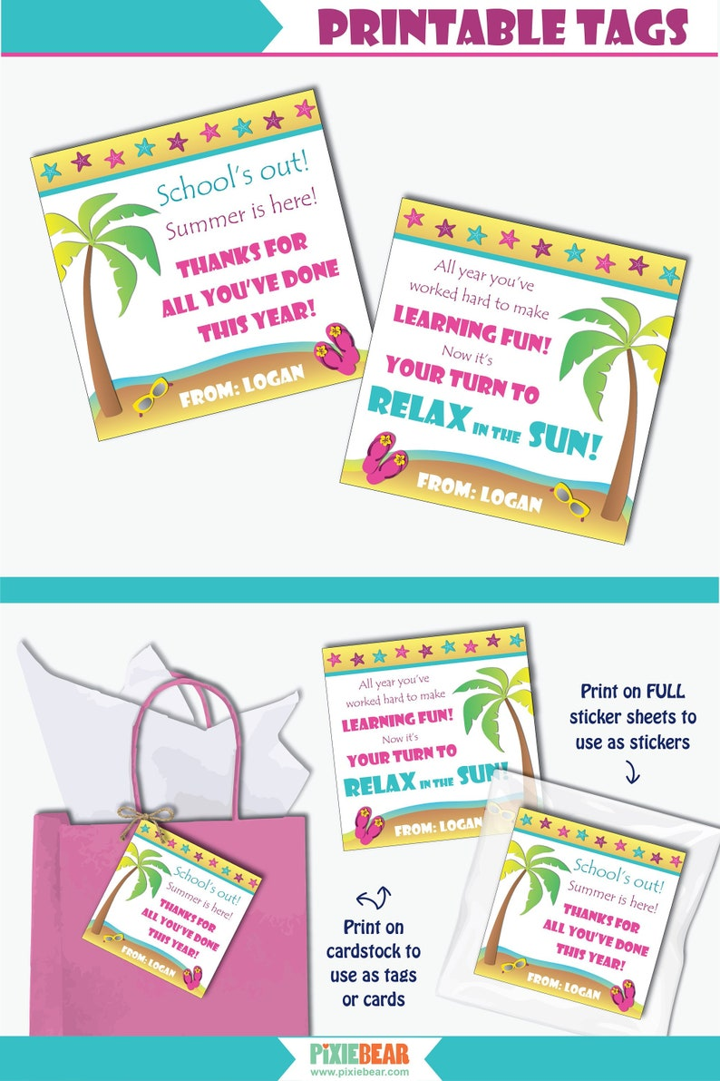 photograph relating to Teacher Appreciation Tags Printable named Seashore Trainer Appreciation Tag - Printable Instructor Appreciation Seashore Reward Tag or Tailored Thank Oneself Card (Immediate Obtain PDF)