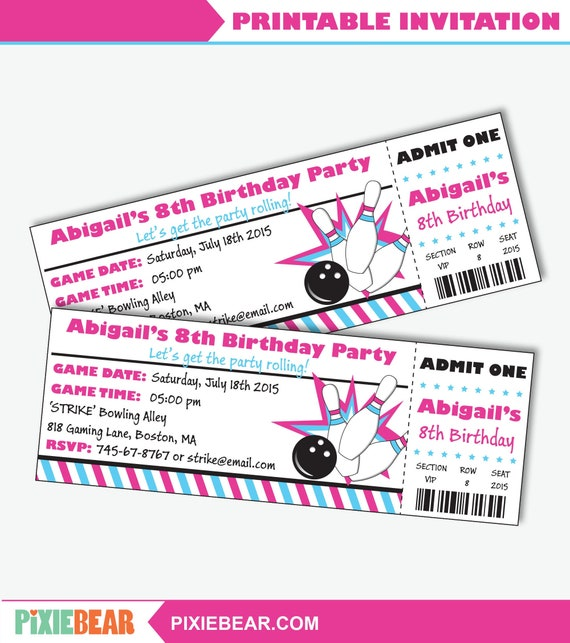 picture about Printable Bowling Party Invitations referred to as Female Bowling Social gathering Invitation - Printable Bowling Birthday