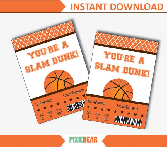 Basketball Valentines Cards for Kids, Basketball Valentine