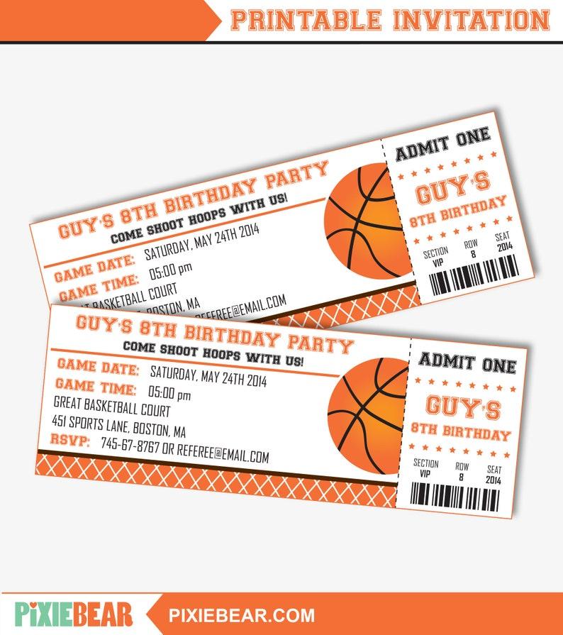 Basketball Party Invitation Basketball Birthday Invitation Etsy