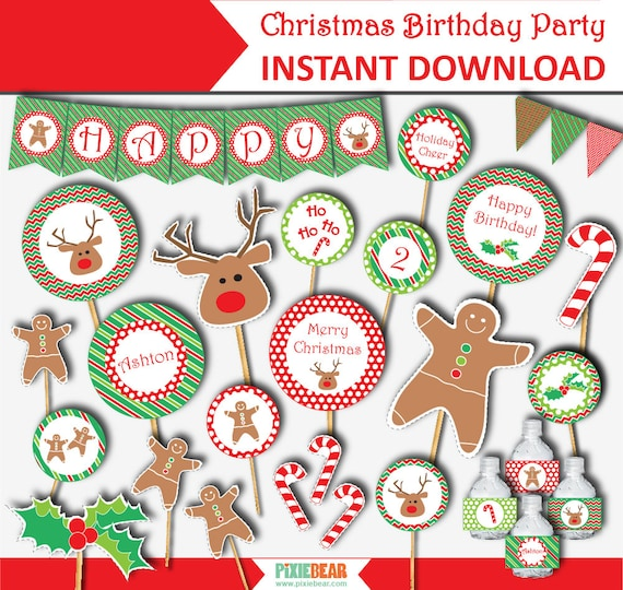 Christmas Birthday.Christmas Birthday Party Christmas Printable Kit Christmas Birthday Party Decorations Christmas Digital Download Instant Download