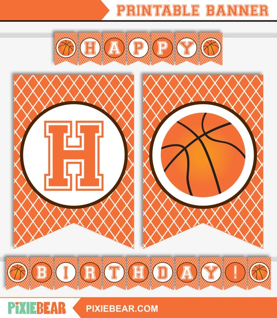 Basketball Banner Slam Dunk Banner Basketball Birthday Banner Basketball Party Banner Printable Banner Instant Download By Pixiebear Catch My Party
