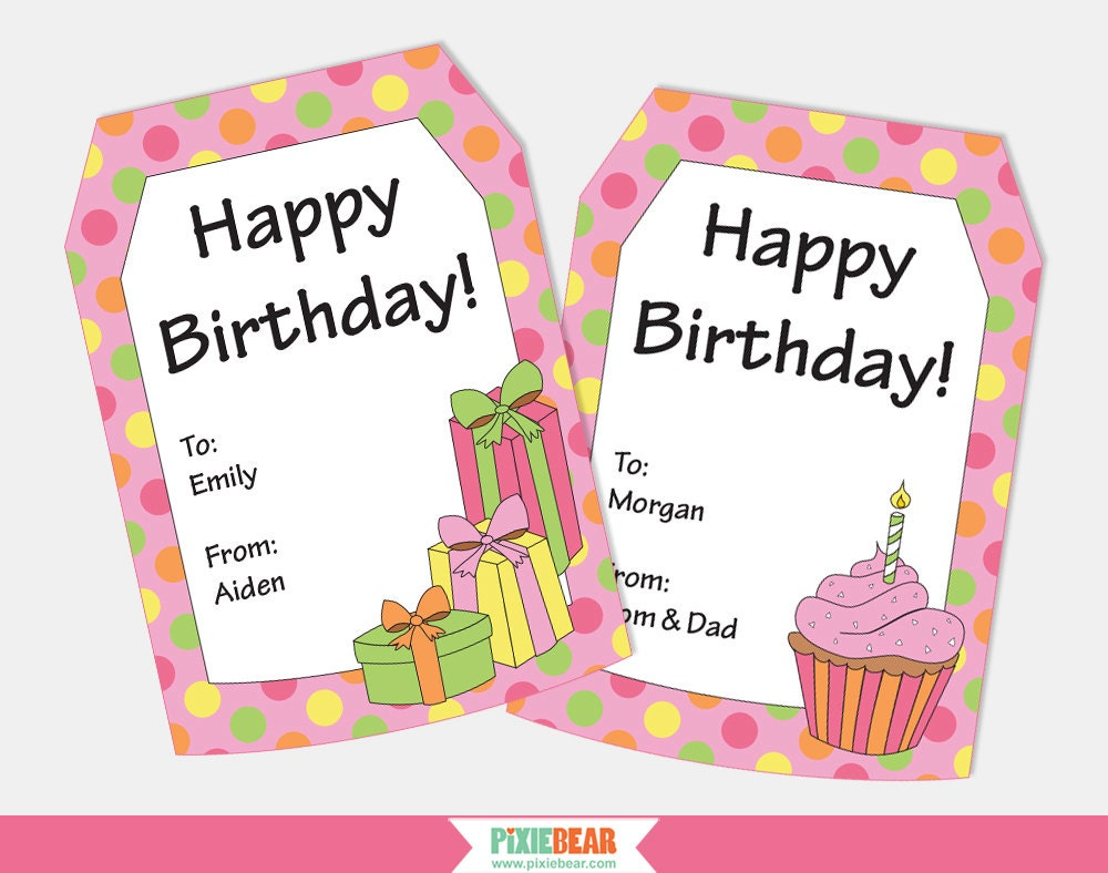 image regarding Printable Birthday Tags titled Birthday Present Tags - Customized Reward Tags - Custom made Birthday Tags - Pleased Birthday Tags - Printable Tag - Editable (prompt Down load)
