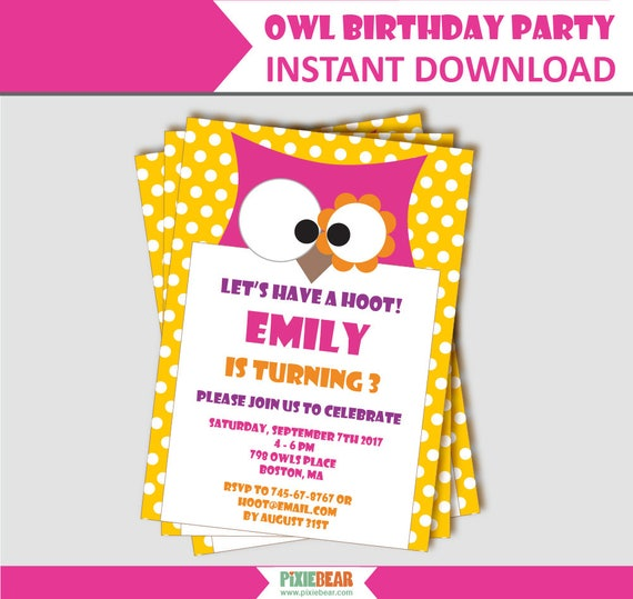 Owl Birthday Invitation Party