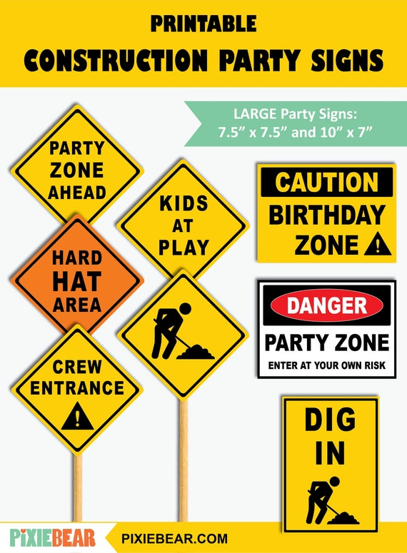 Construction Party Signs Printable Construction Birthday Road Signs Construction Zone Signs Construction Decorations Instant Download By Pixiebear Catch My Party