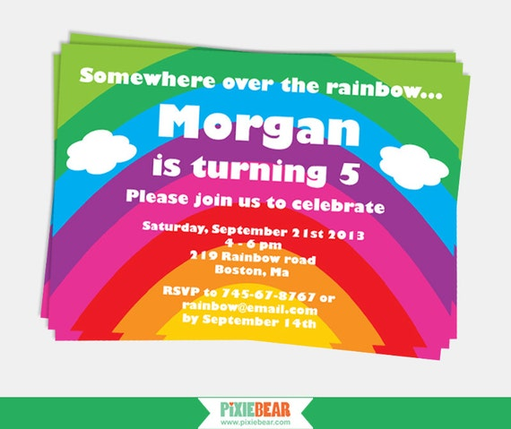 rainbow party invitation rainbow birthday invitation etsy