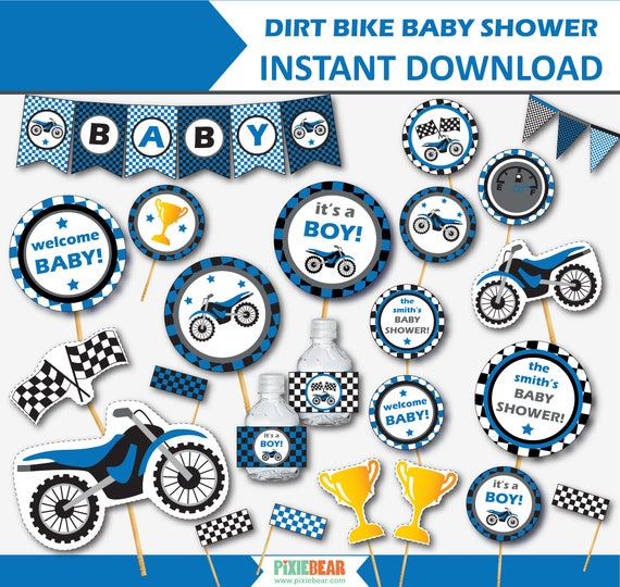 image relating to Printable Baby Shower Decorations identified as Grime Motorcycle Child Shower - Motorbike Little one Shower Decorations