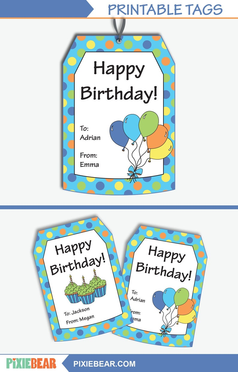 image regarding Birthday Tag Printable known as Birthday Reward Tags - Custom-made Present Tags - Custom made Birthday Tags - Content Birthday Tags - Printable Tag - Editable (fast Down load)