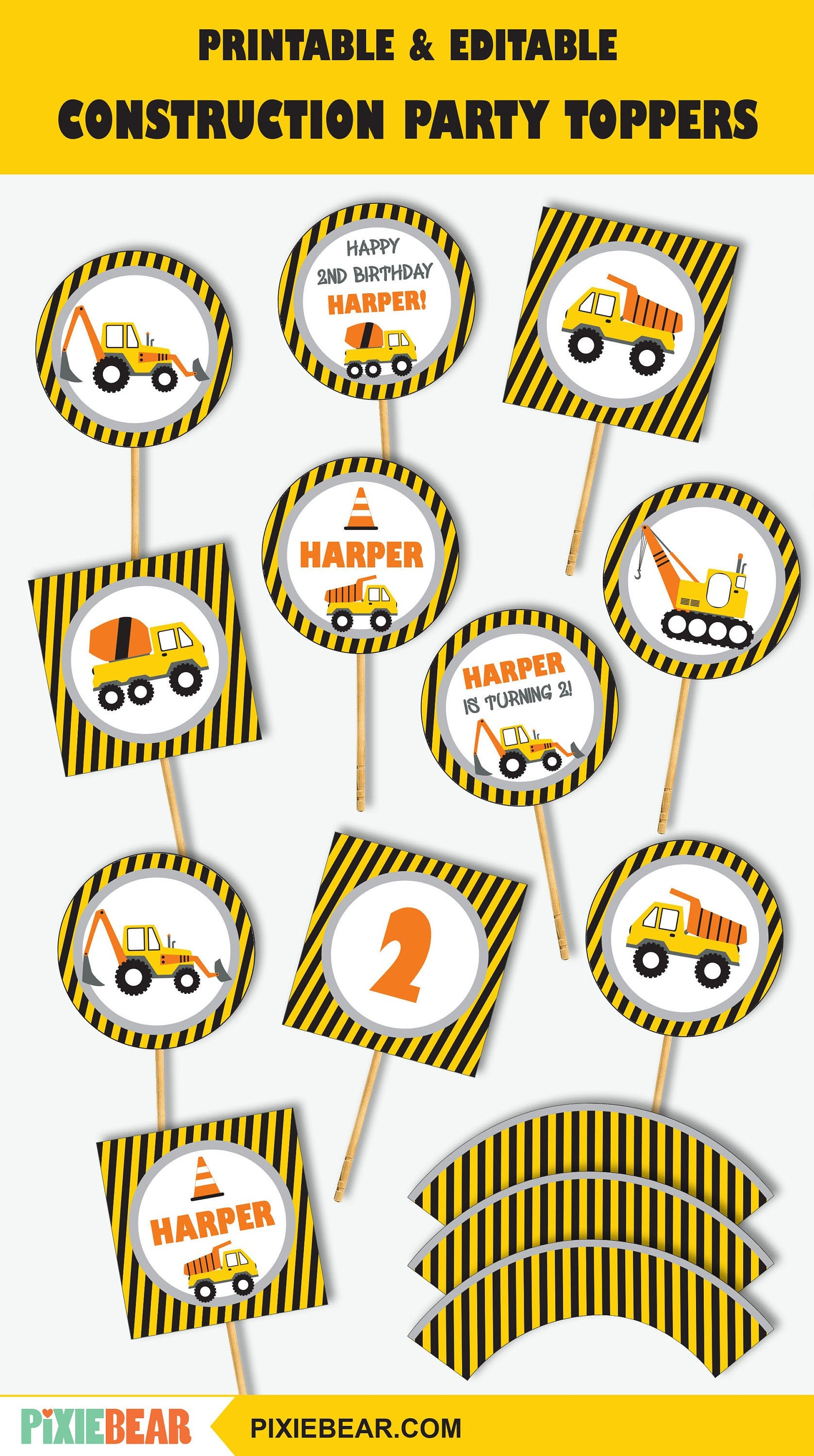 Construction Cupcake Toppers Printable Construction Toppers Etsy