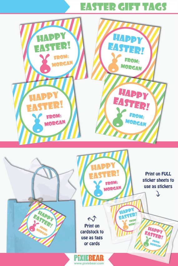 Happy Easter Gift Tags Printable Easter Tags For Easter Favors And Treats With Easter Bunny Design Instant Download Editable PDF