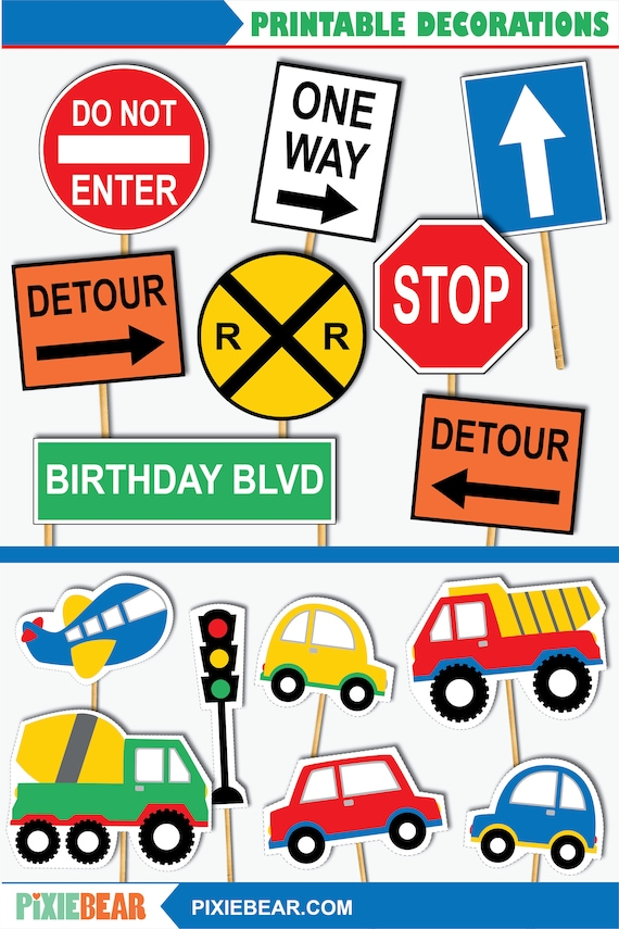 Transportation Signs Printable Transportation Birthday Cutouts Cake Toppers And Signs For A Transportation Party Instant Download Pdf By Pixiebear Catch My Party