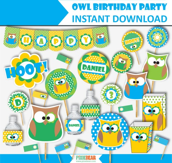Owl Birthday Decorations And Invitations Printable Owl