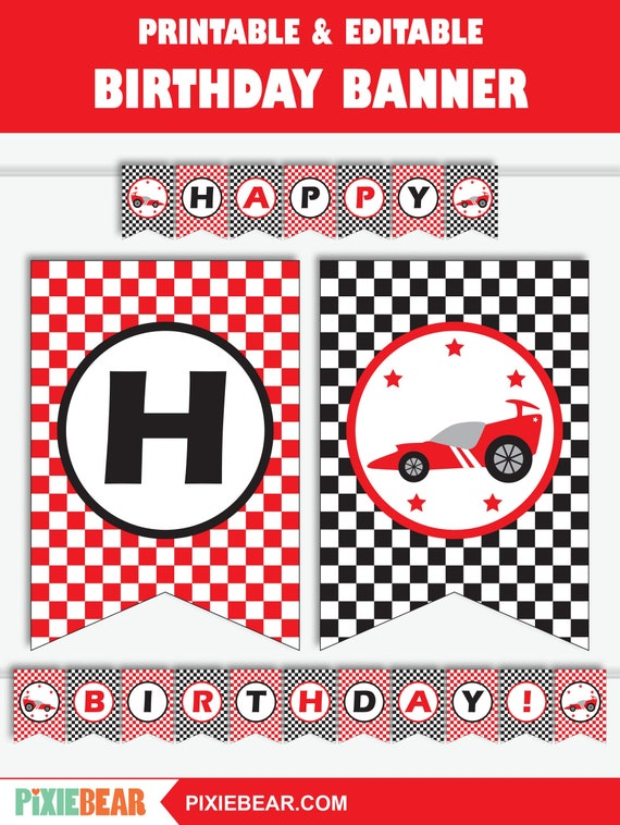 Race Car Banner Race Car Birthday Banner Race Car Party Banner Printable Banner Race Car Decorations Instant Download By Pixiebear Catch My Party