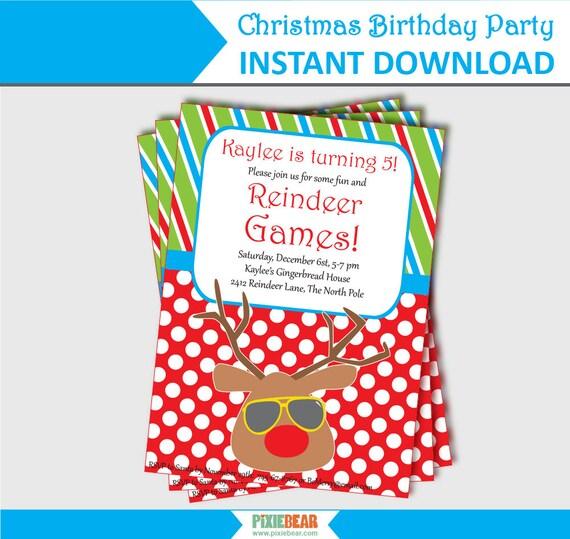 christmas birthday party invitation summer christmas etsy