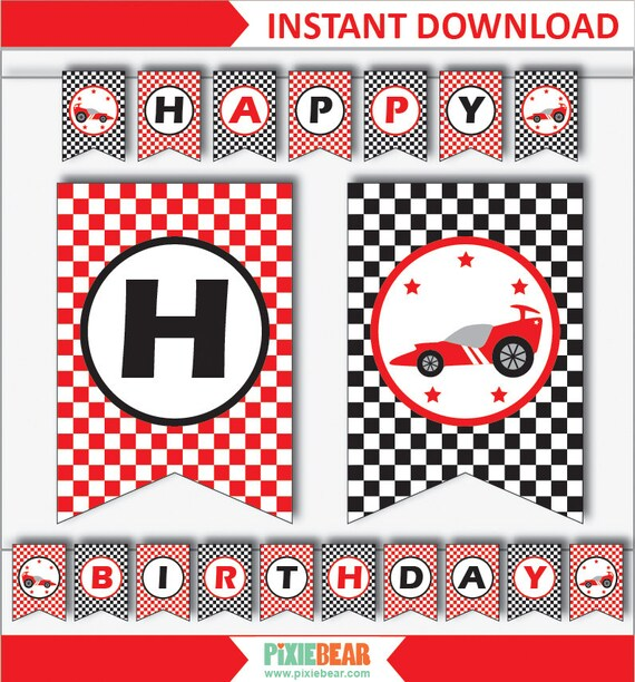 Race Car Banner Race Car Birthday Banner Race Car Party Etsy