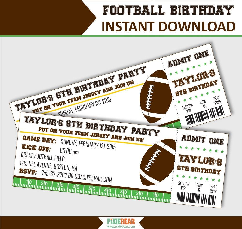 Football Party Invitation Football Birthday Invitation | Etsy