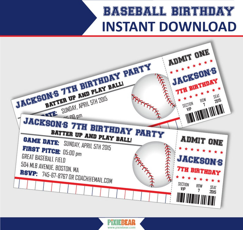 Baseball Invitations Party Birthday Ticket Invitation Editable PDF Instant Download