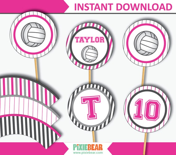 photo relating to Volleyball Printable called Volleyball Cupcake Toppers - Volleyball Occasion - Volleyball