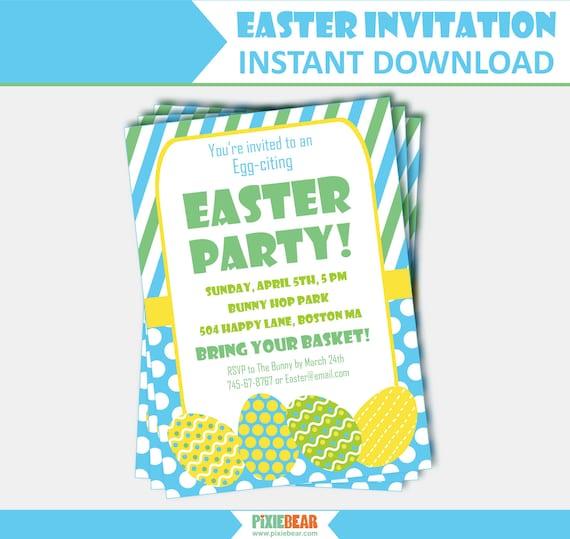 Easter Invitation Easter Party Invitation Easter Egg Hunt Etsy