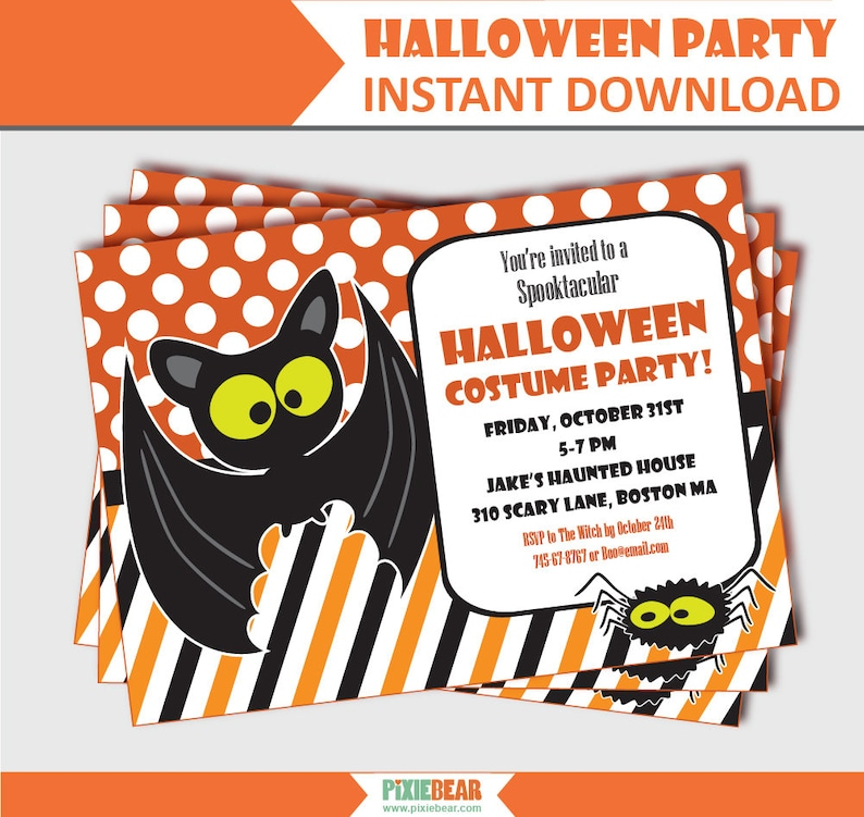 photo about Printable Halloween Party Invitations identify Children Halloween Social gathering Invitation - Halloween Celebration Invites - Halloween Invitations - Printable Halloween Invites (Fast Obtain)