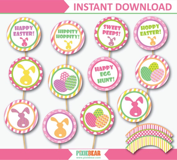 photograph regarding Printable Easter Decorations called Easter Cupcake Toppers, Easter Decorations, Cupcake Wrappers
