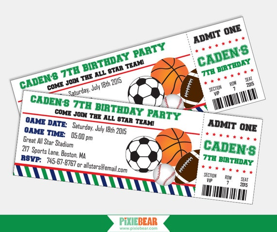 Sports Birthday Invitation Sports Party Invitation Sports Etsy
