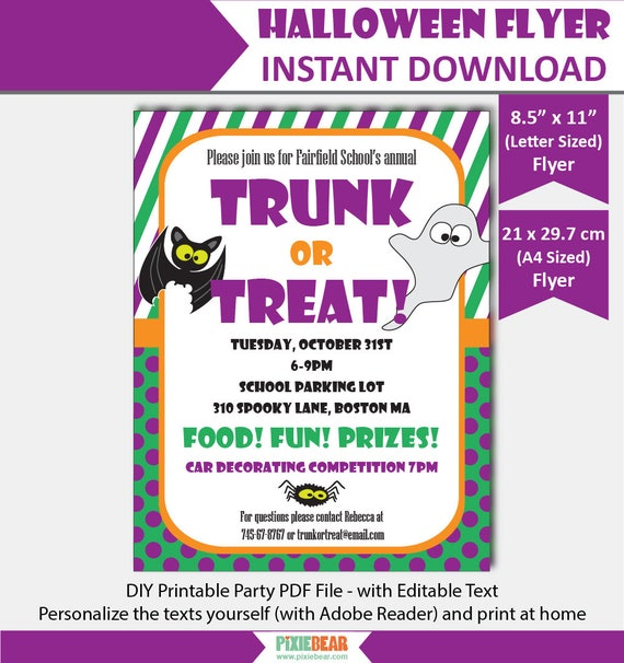 Halloween Party Flyer Trunk Or Treat Flyer Trunk Or Treat